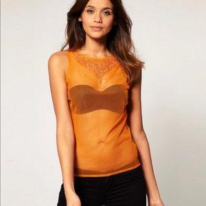 ASOS sheer orange top with embellished details